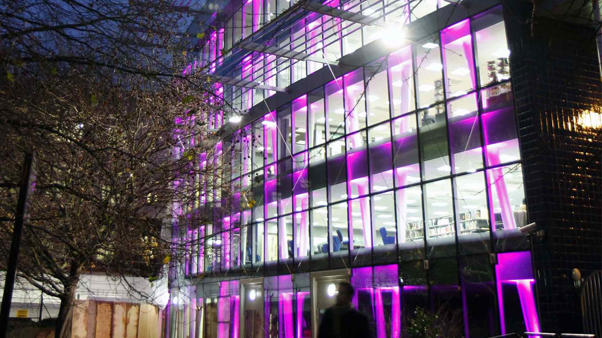 Feature Lighting Design New Building Exterior Purple Illumination Nulty