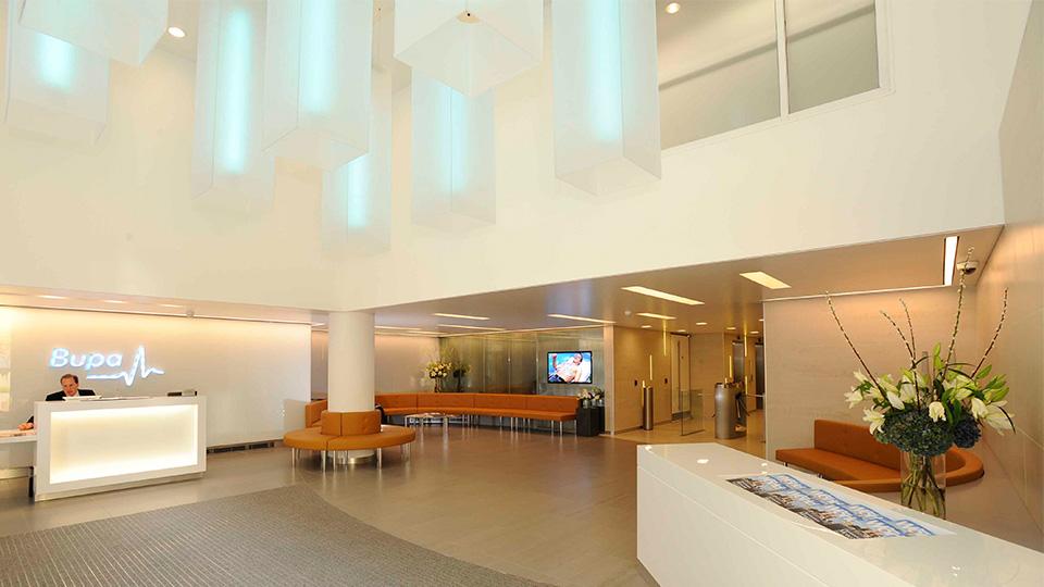 Foyer Office Uk : Bupa headquarters nulty lighting design consultants