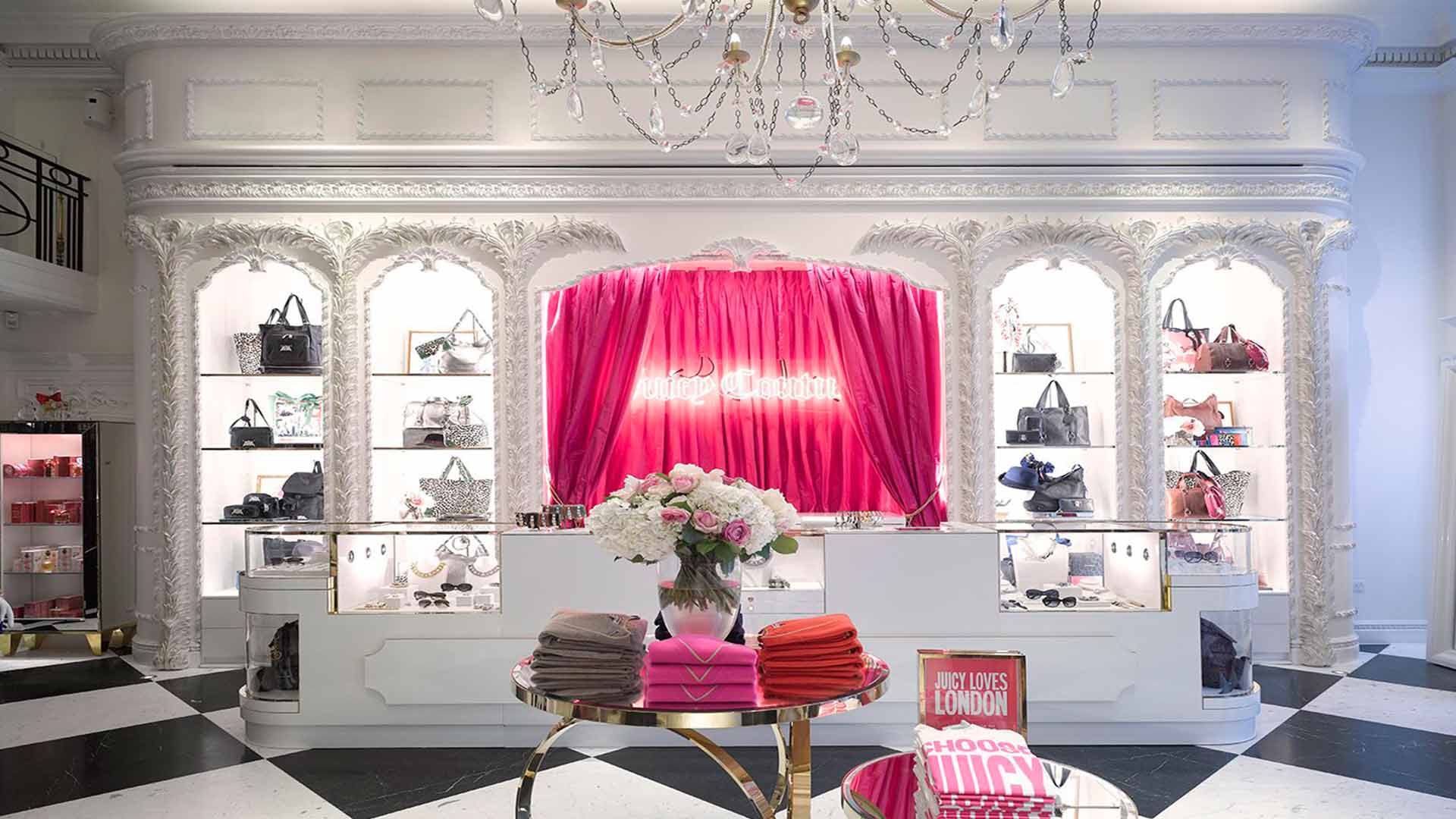 Lighting Design Luxury Shop Counter Pink Taffeta Curtain Neon Sign Product Shelving Nulty