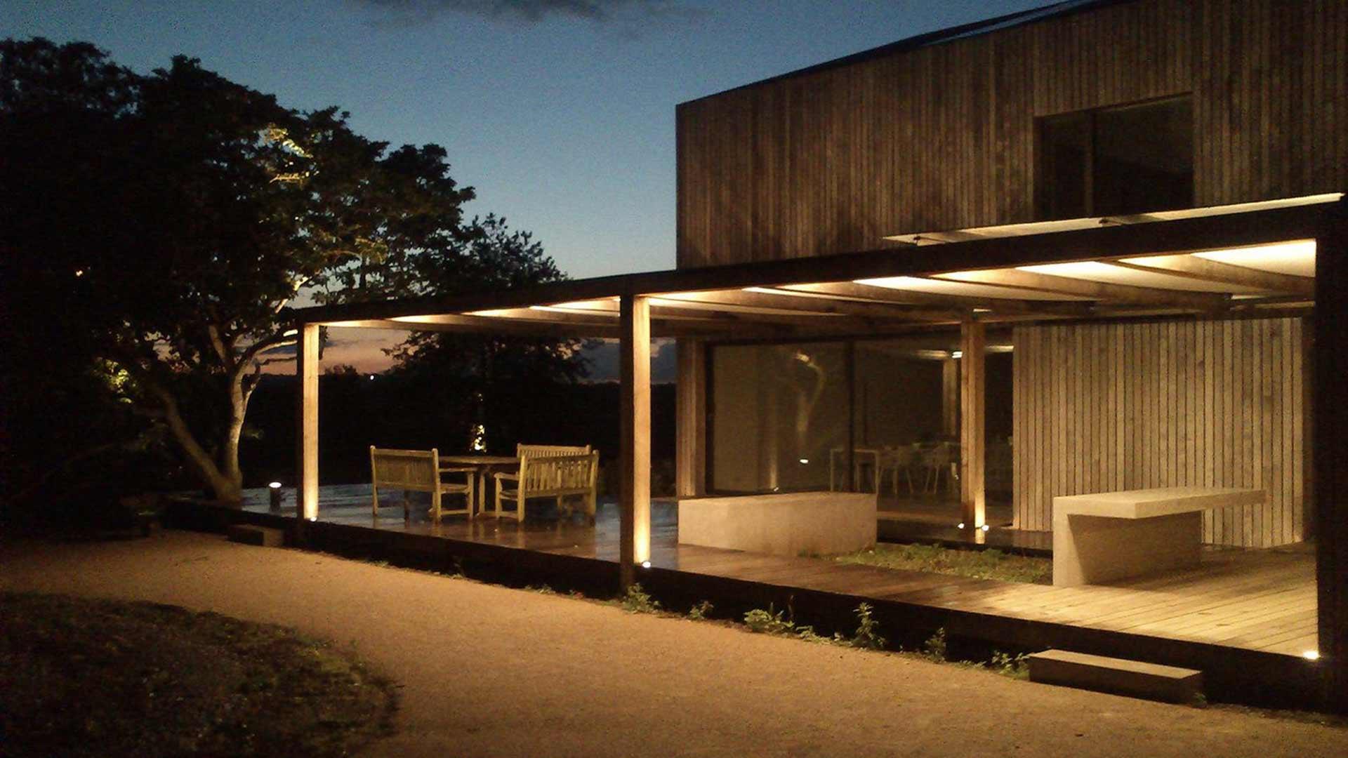 Illuminated Pergola Night Seating House Exterior Light Nulty