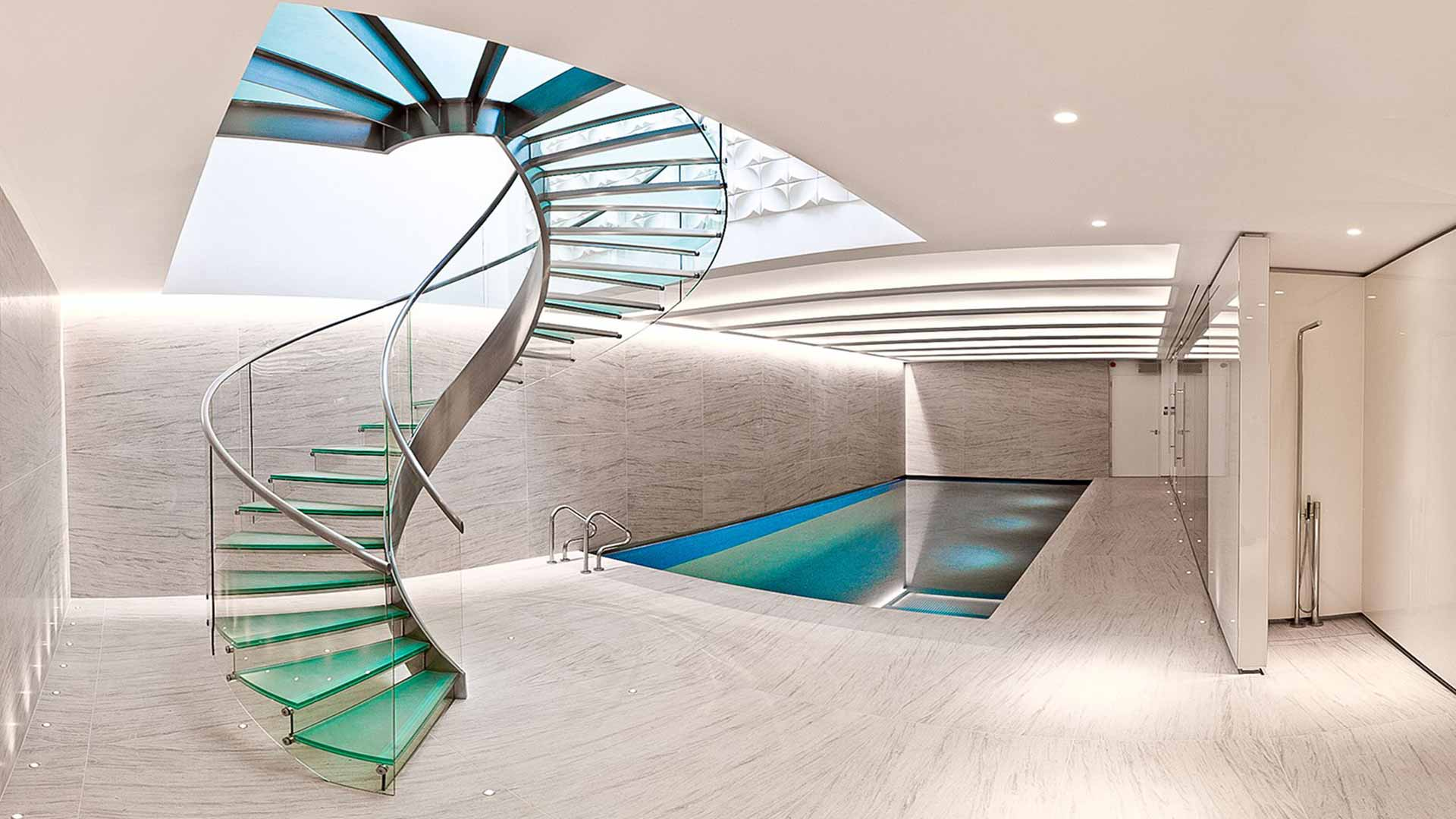 Luxurious Swimming Pool Spiral Stairs High End Residential Refurbishment Lighting Nulty