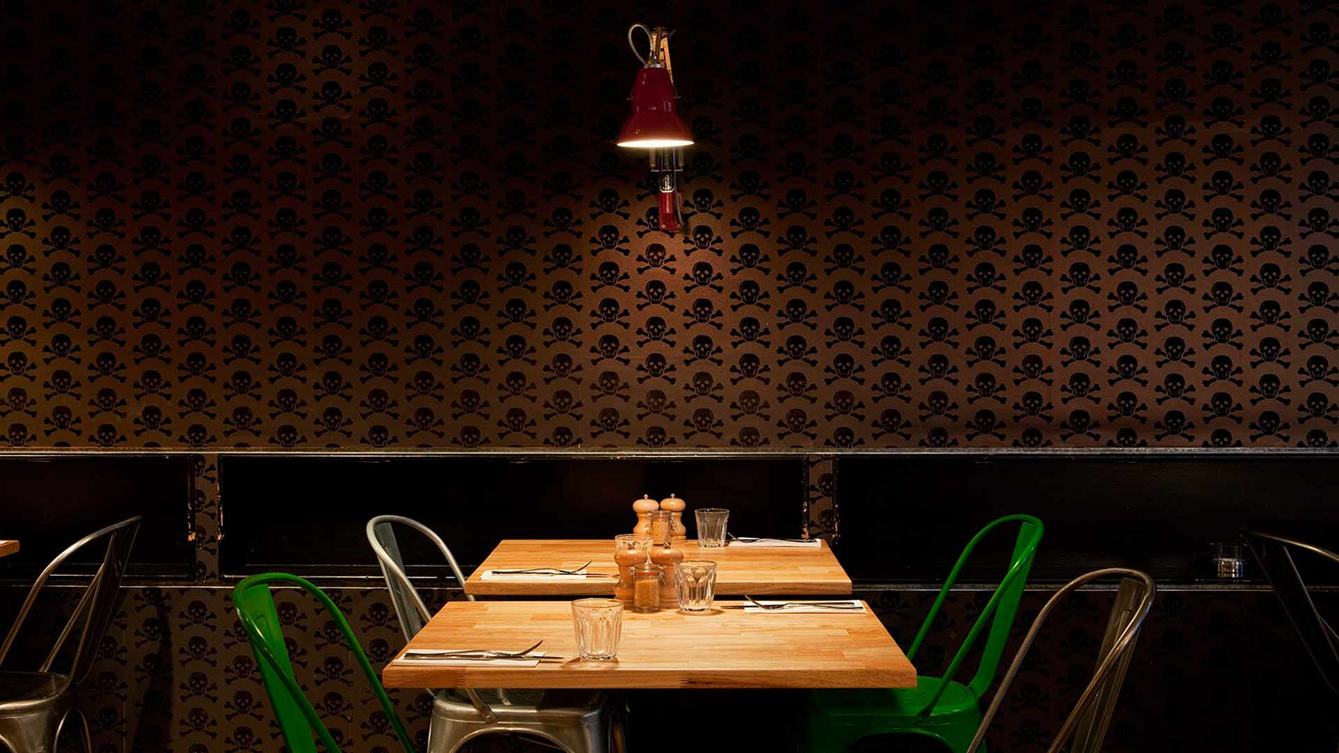 Dining Moody Interior Skull Wallpaper Lighting Anglepoise Style Nulty