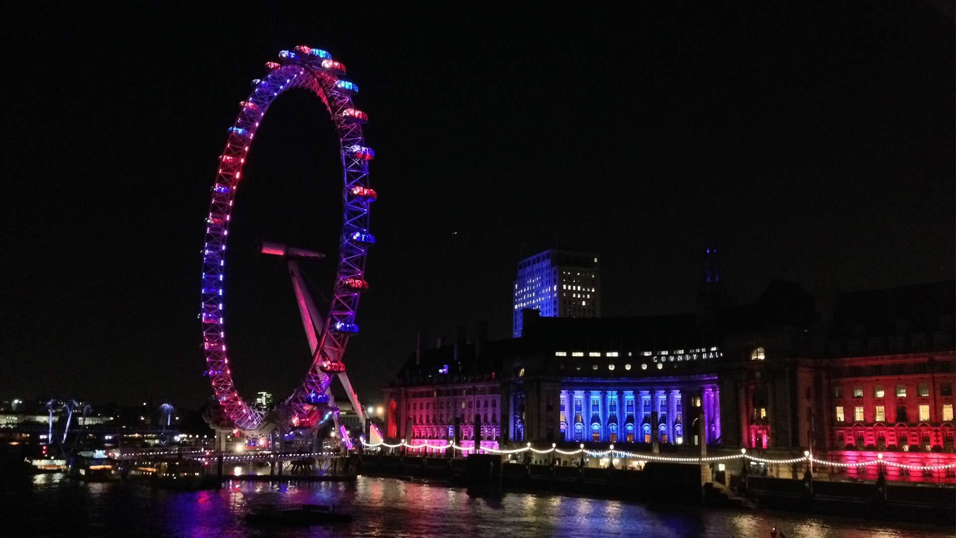 Colourful Lighting Display London Eye Waterloo South Bank Nulty