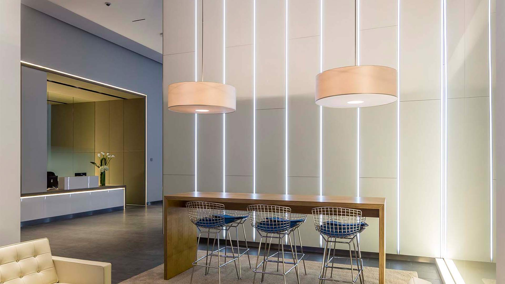 Contemporary Workplace Reception Foyer Lighting Design Nulty