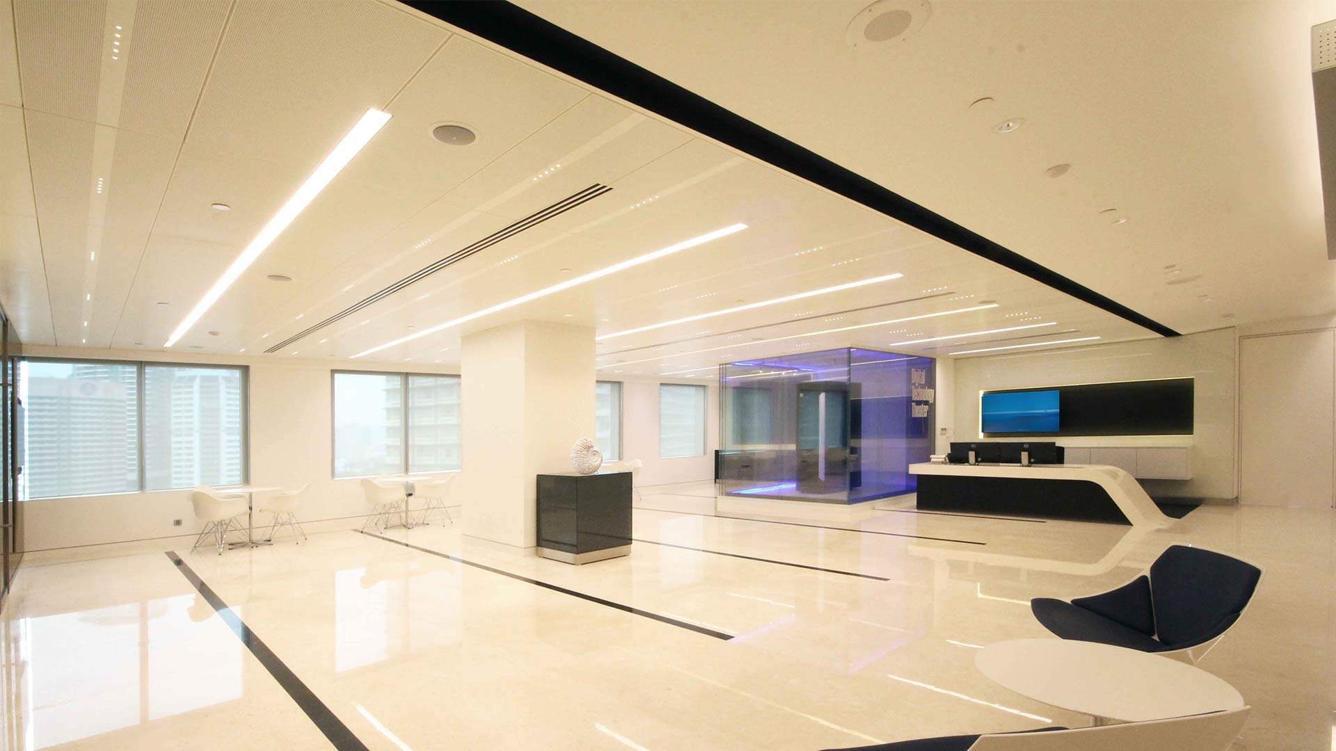 Reception Office White Architectural Lighting Design Sustainable Nulty