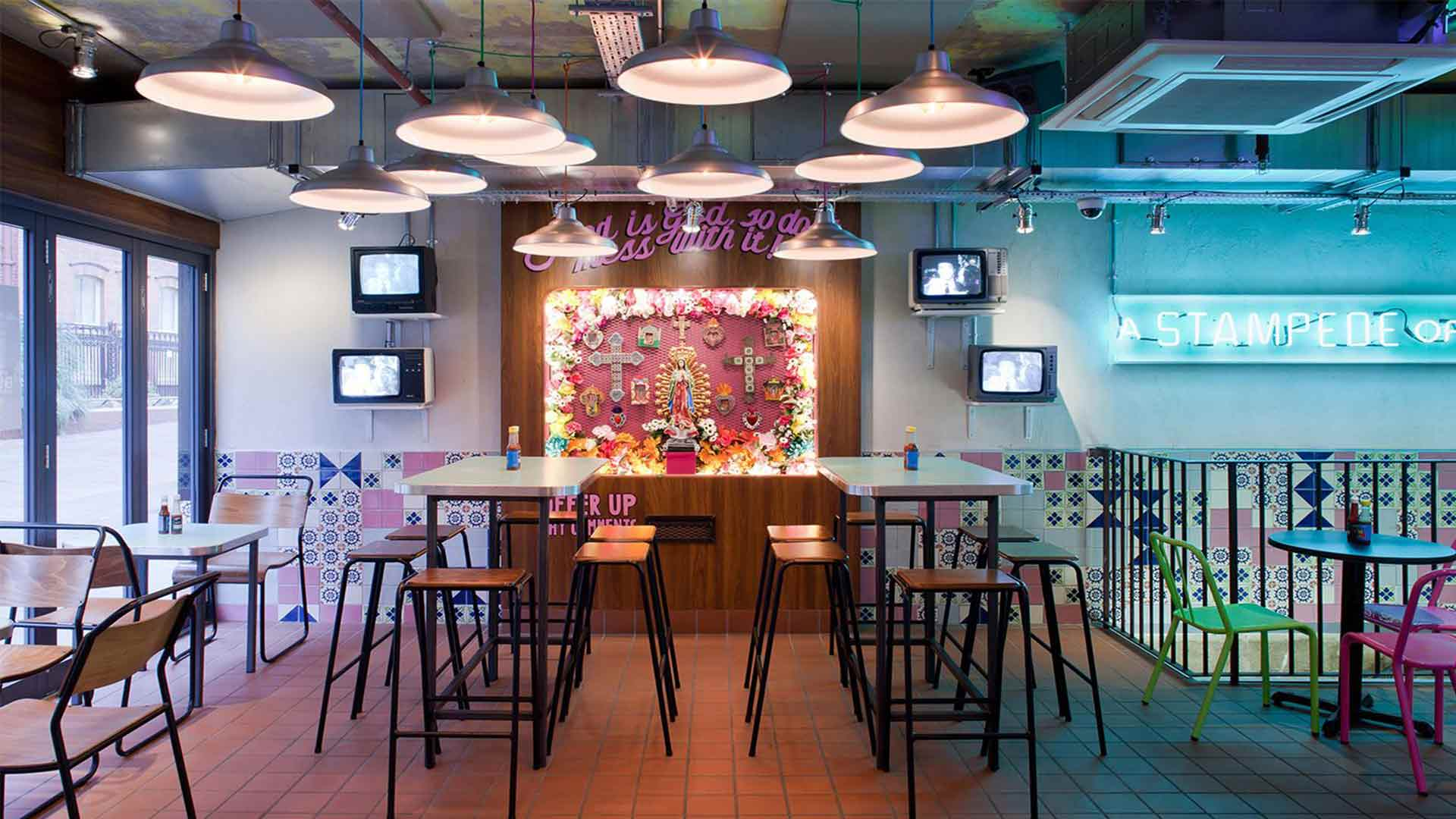 Funky Restaurant Space Tables Feature Pendants Wall Detail Old TVs Lighting Nulty