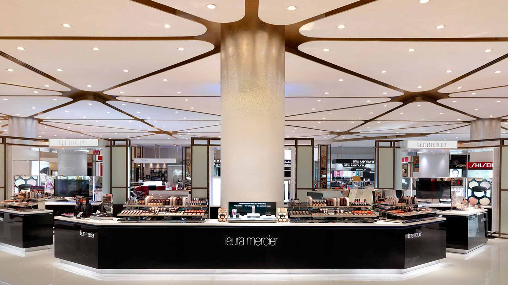 retail beauty hall department store brand counter lighting design