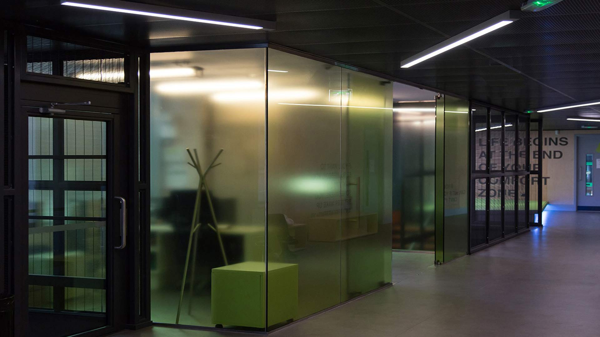 Office Glass Education Modern Linear Efficient Light Corridor Nulty