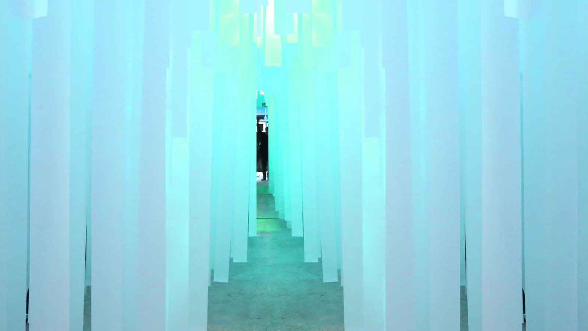 Temporary Exhibition Product Launch Retail Gallery Ribbons Blue Light Nulty