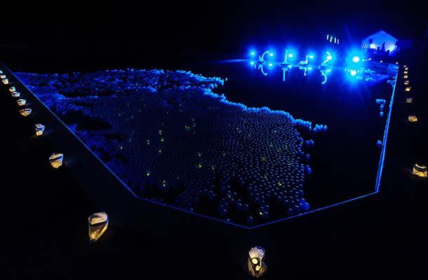 Blue Light Exterior Pool Floating Balls Swans Festival Of Light Nulty