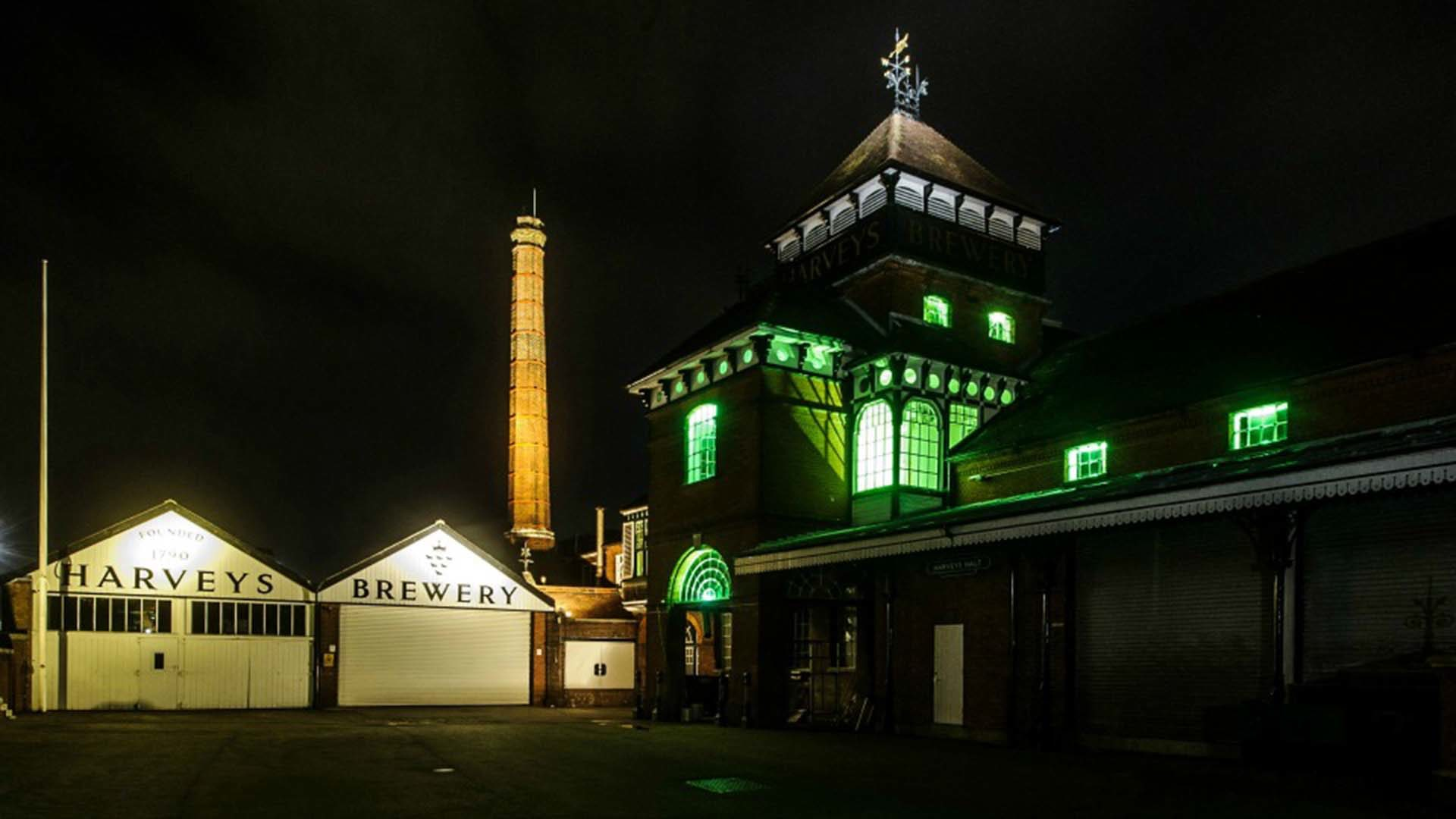 Brewery Exterior Architecture Green Lighting Nulty