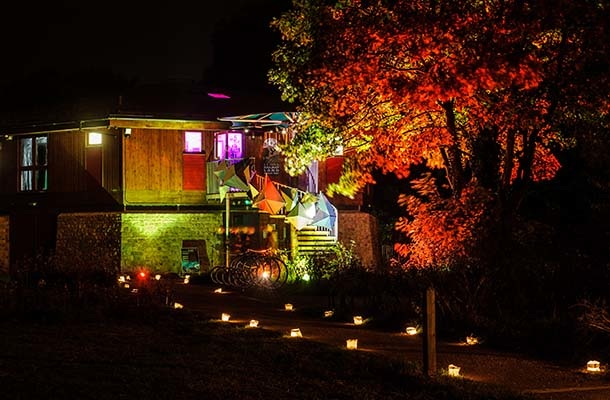 Exterior Lighting Linklater Pavilion Autumnal Colour Festival Of Light Nulty