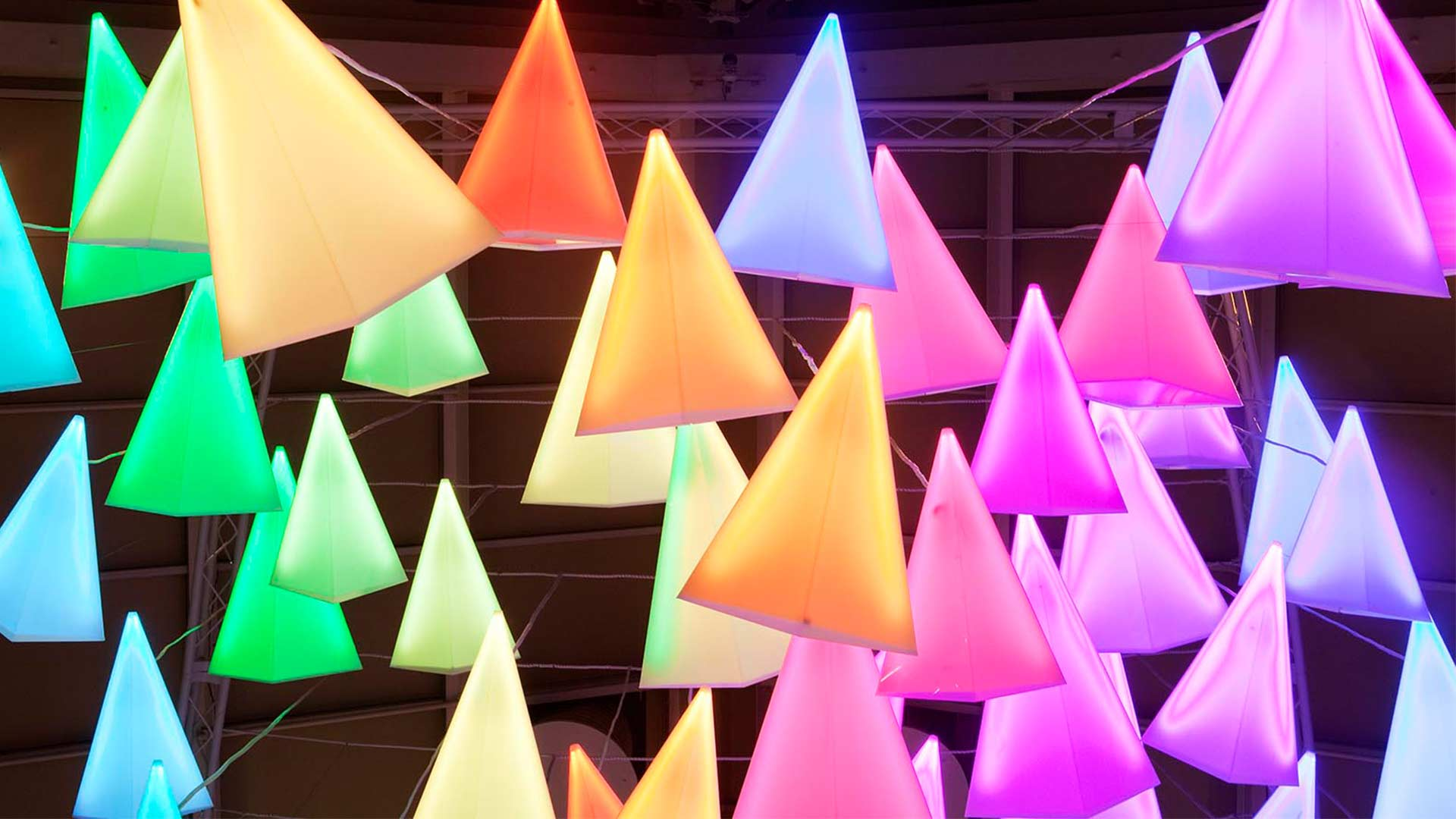 Colour Dynamic Cones Light Art Feature Installation Retail Lighting Design Nulty