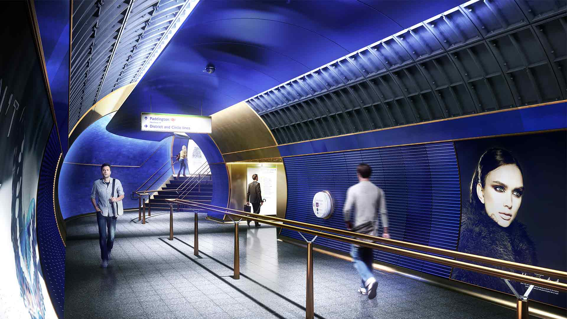 London Underground Station Walkway Blue Interior Lighting Design Nulty