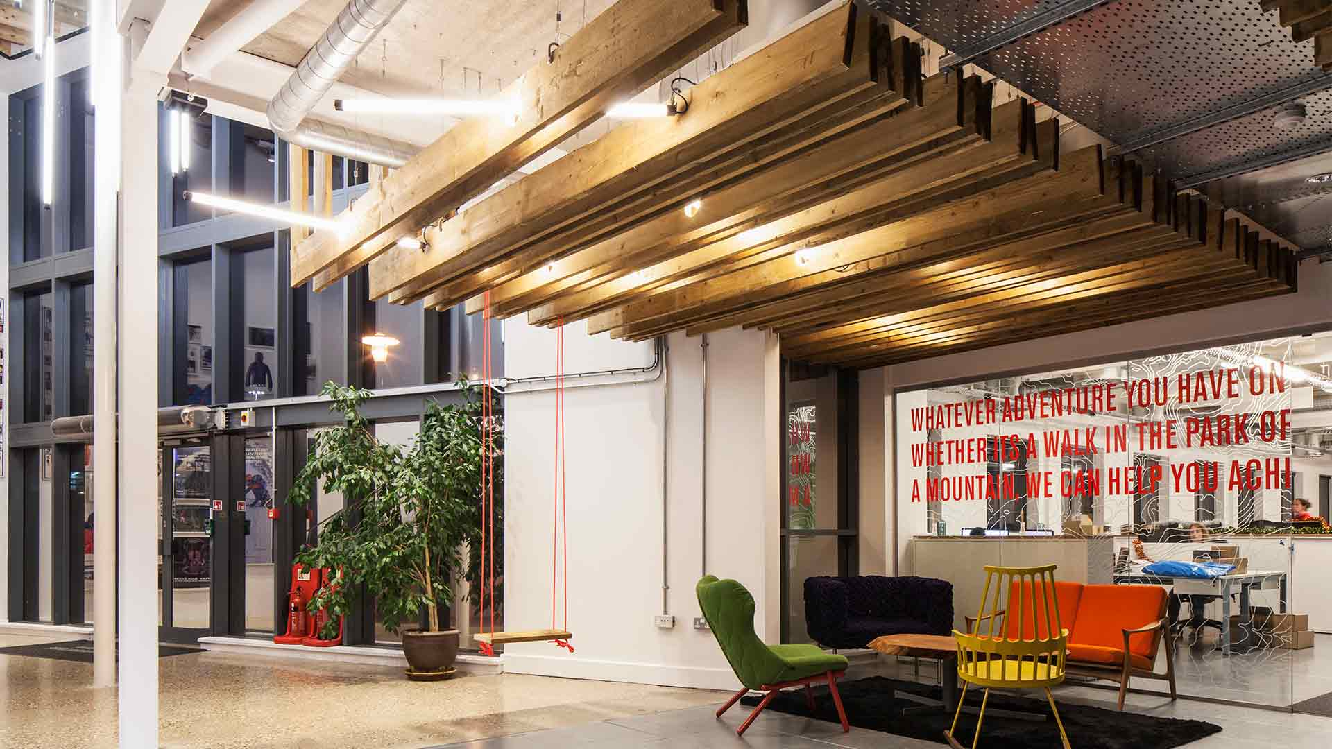 Lighting Design Fluorescent Tubes Timber Funky Office Entrance Nulty