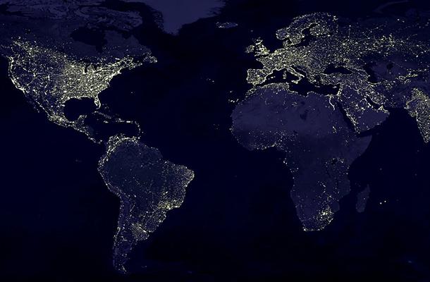 World Map Night Earth Light Pollution