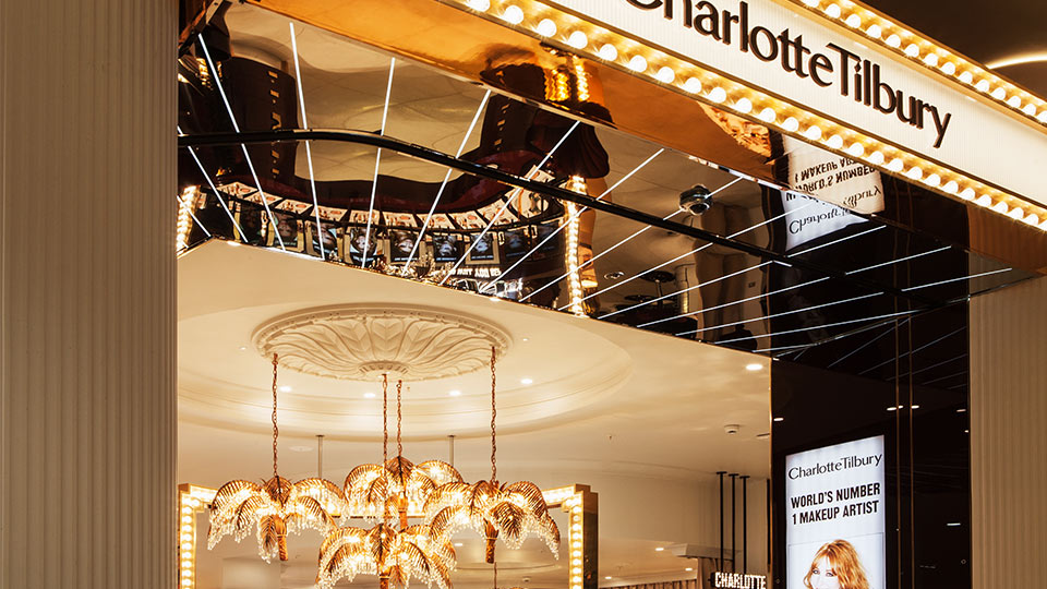 nulty charlotte tilbury westfield london lighting design detail