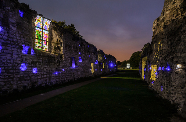 Projected Stained Glass Window Blue Lighting Stone Recesses Historical Priory Nulty