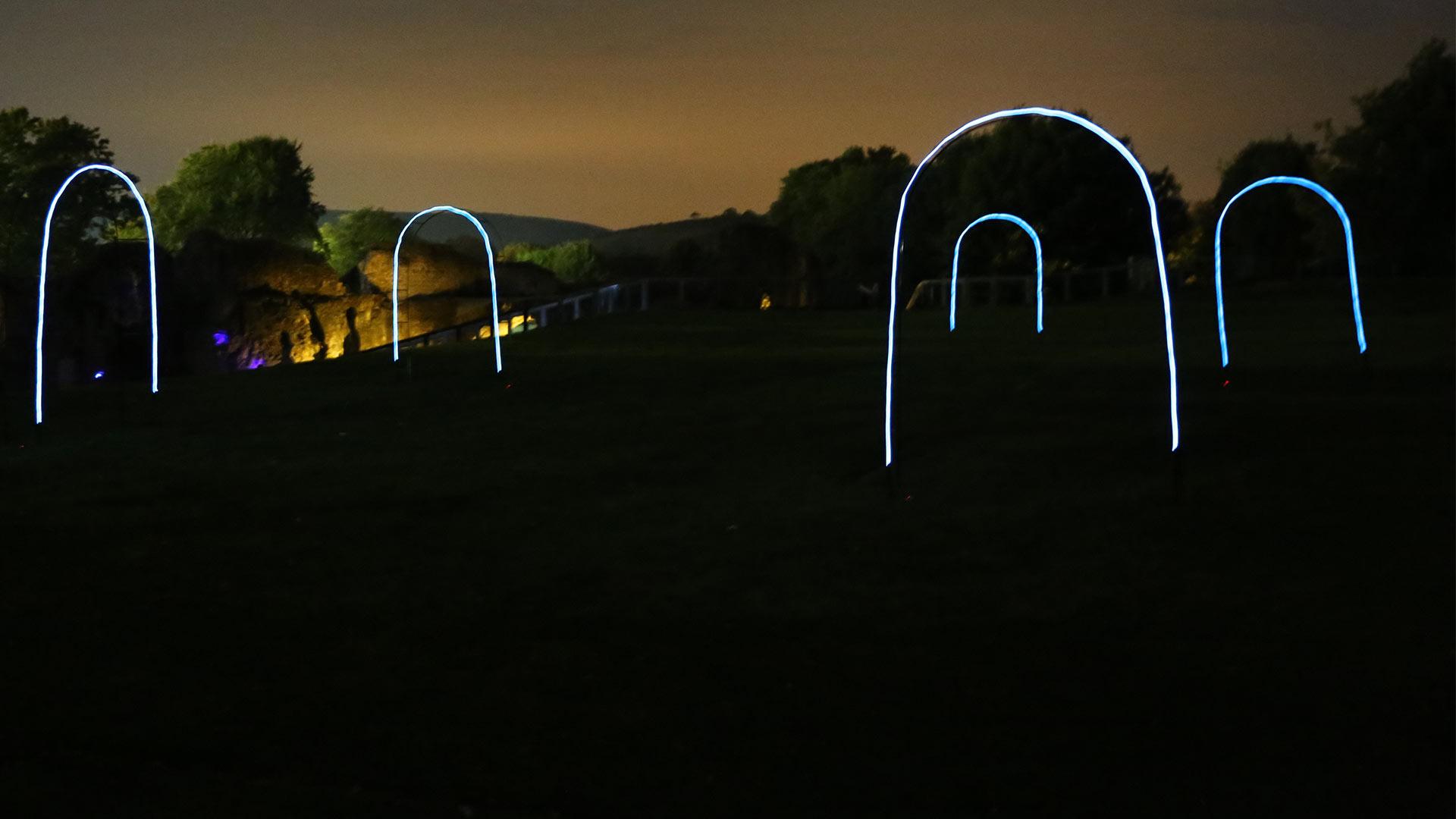 Illuminated Hoops Landscape Ruins LewesLight 2016 Nulty