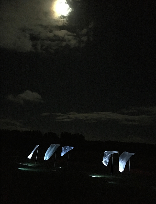 Illuminated Fabric Sails Landscape Moon LewesLight 2016 Festival Nulty