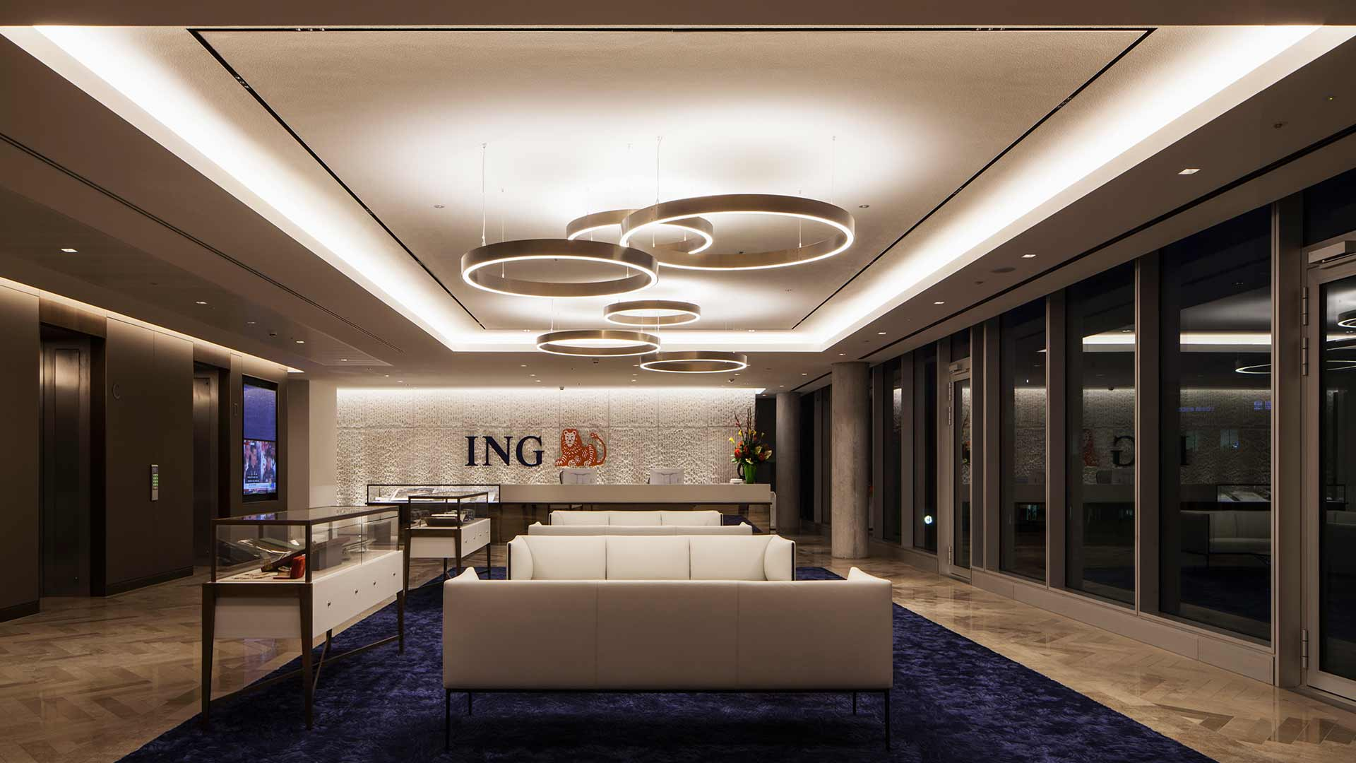 Reception Area Suspended Luminaire Interconnected Rings Lighting Design Nulty