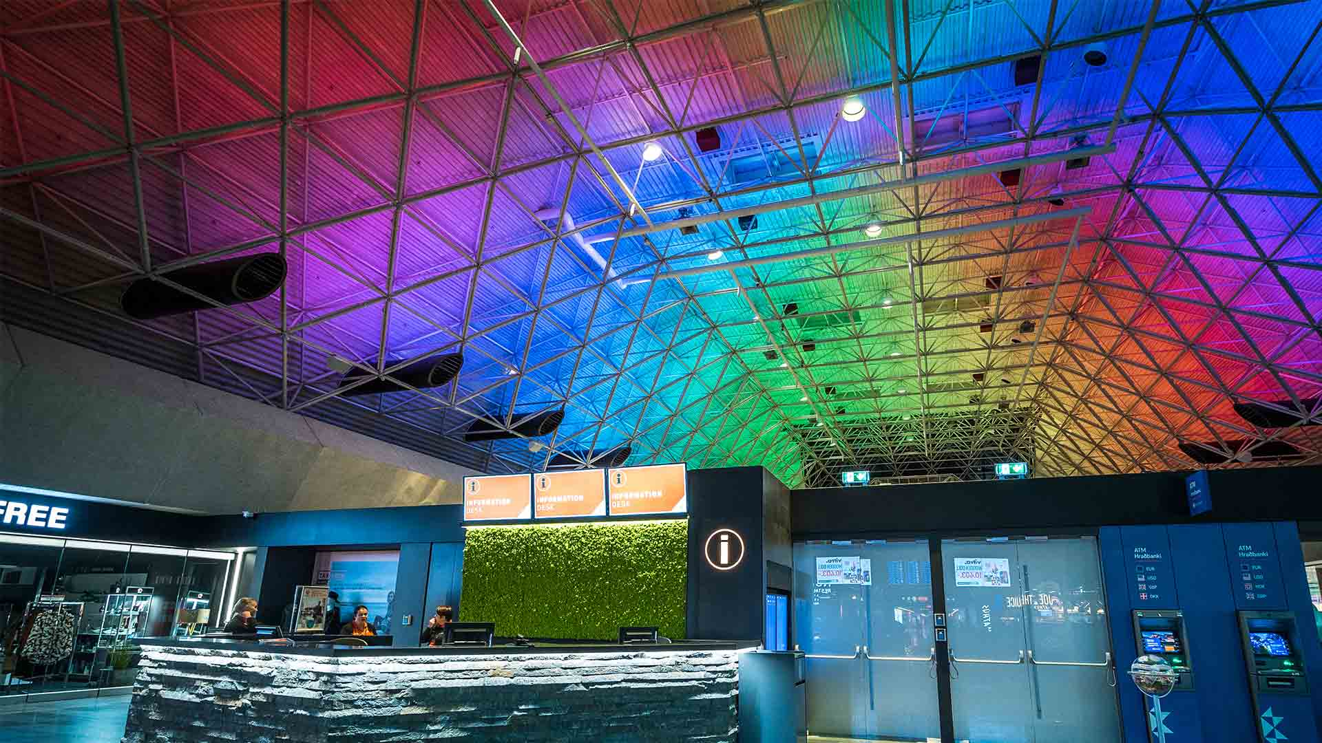 Colourful Light Ceiling Installation Airport Iceland Northern Lights Nulty