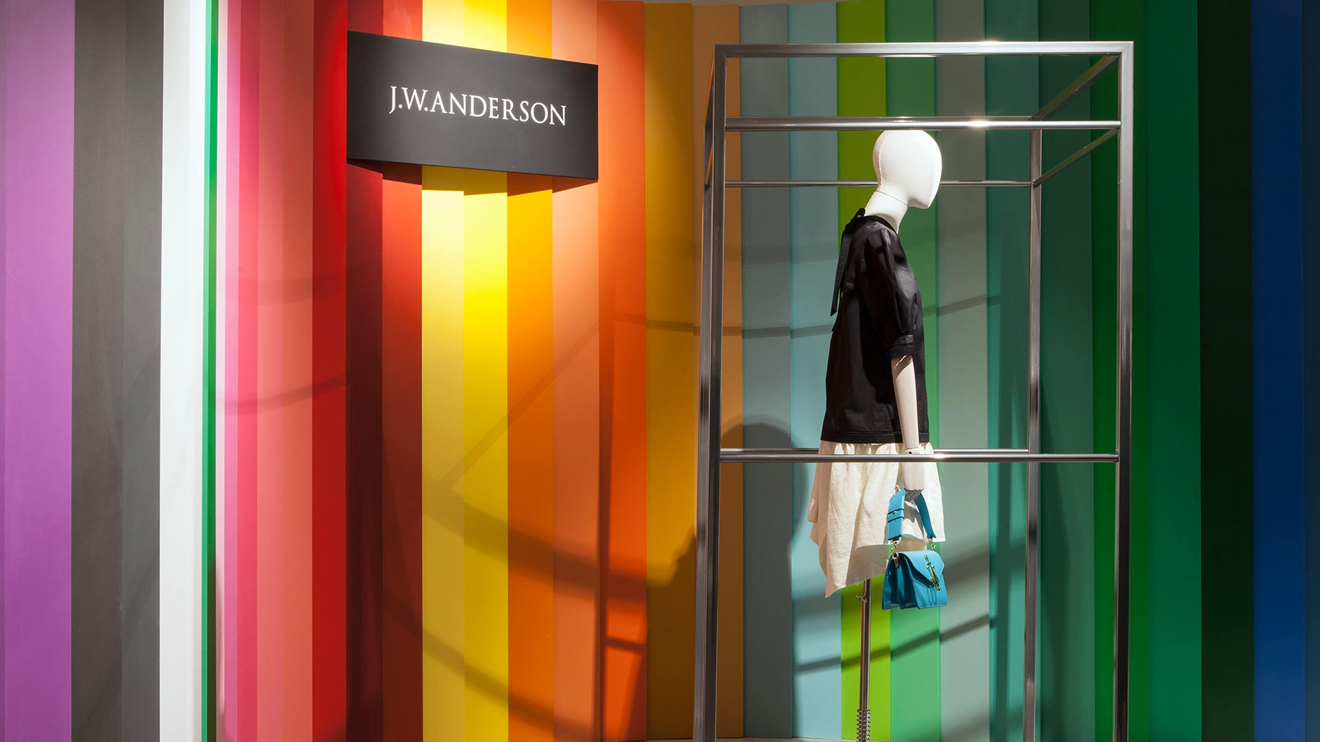 Colourful Striped Feature Wall Mannequin Art Installation Frame Lighting Nulty