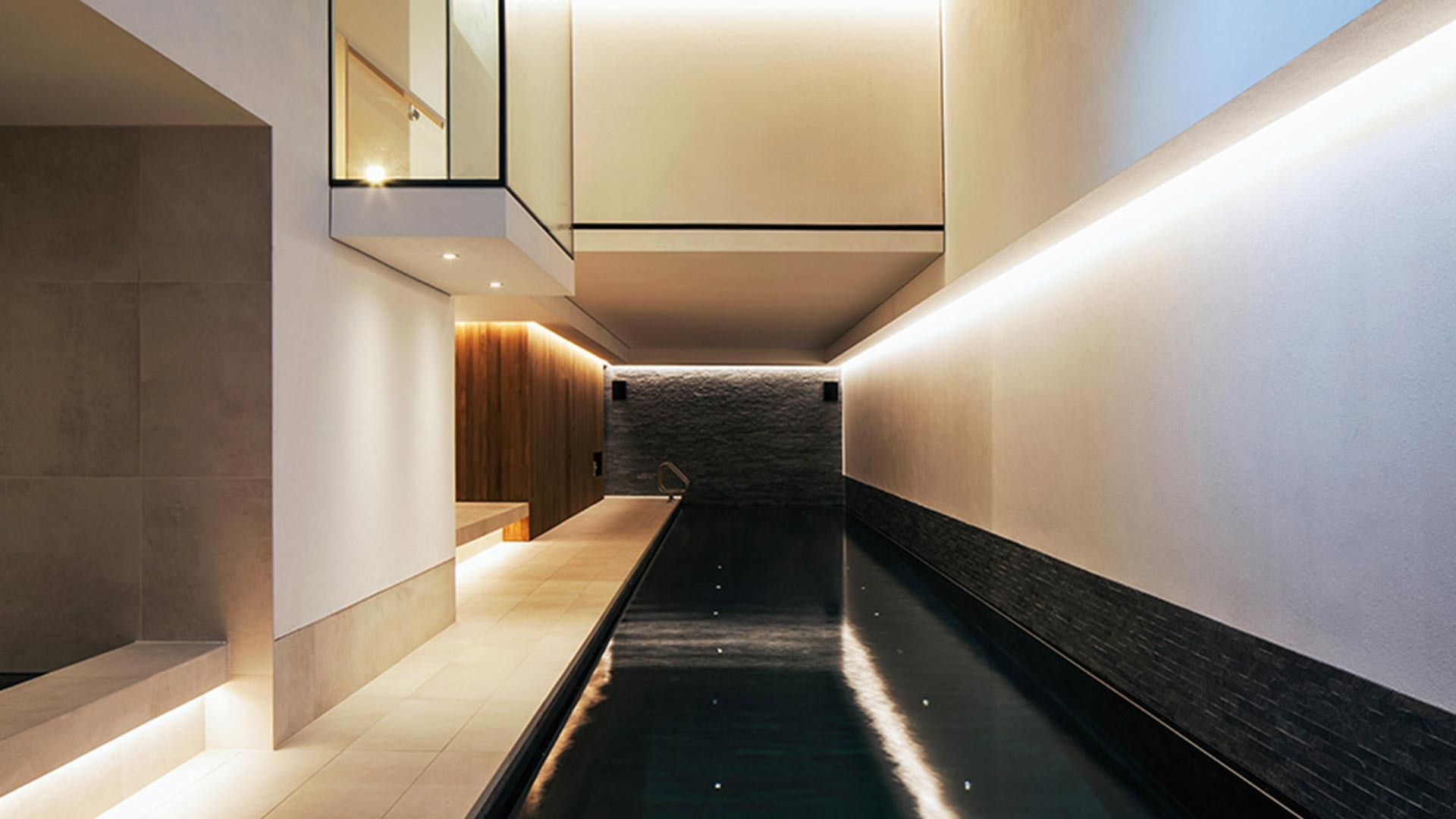 Lighting Scheme Stylish Contemporary Swimming Pool Basement Private Residence Nulty