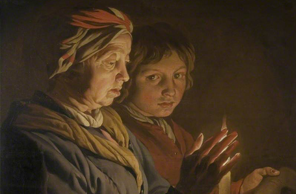 Old Woman And A Boy By Candlelight Matthias Stom Chiaroscuro Style