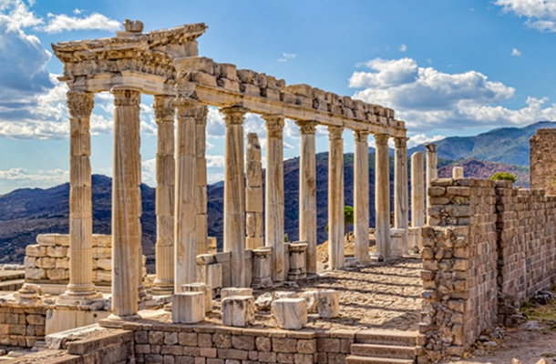 Roman Ruins Architecture Shadows Contrast