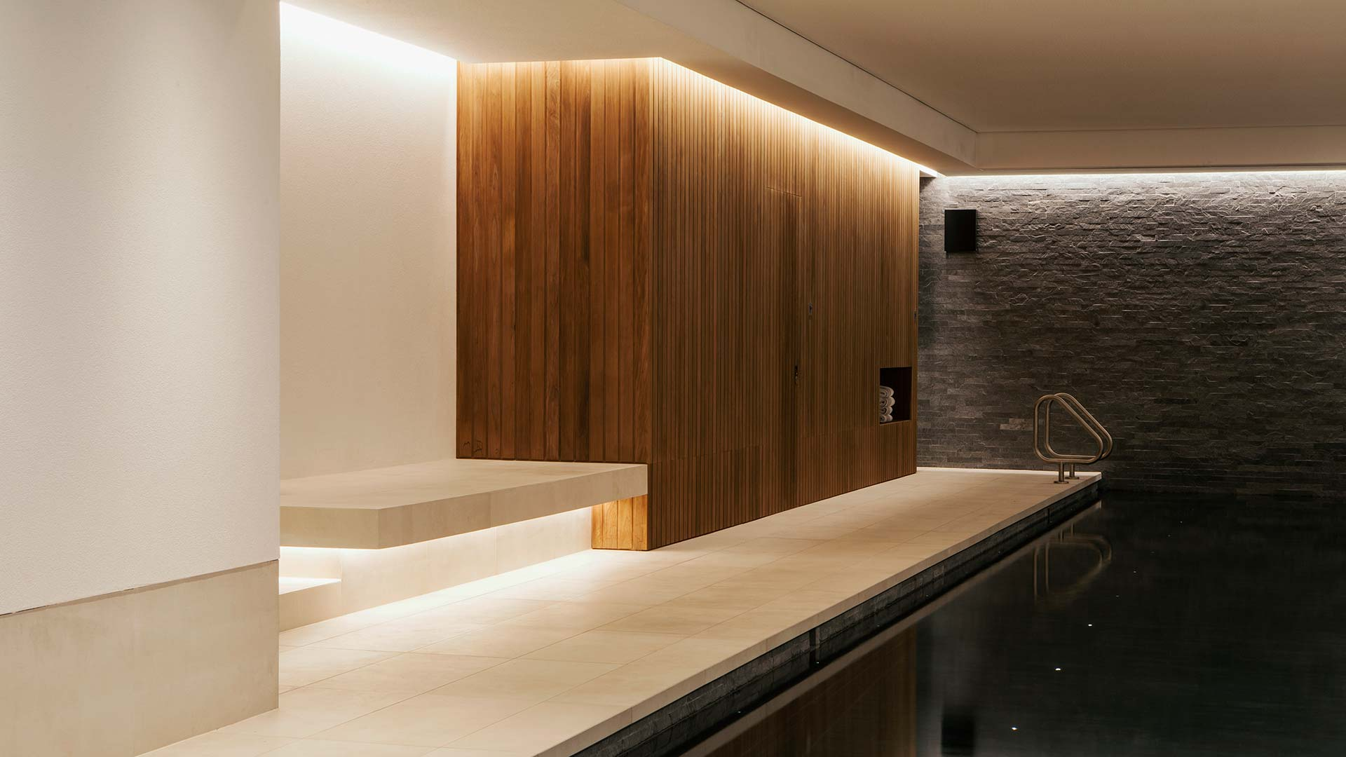 Architectural Lighting Design Elegant Contemporary Swimming Pool Wood Textured Stone Nulty