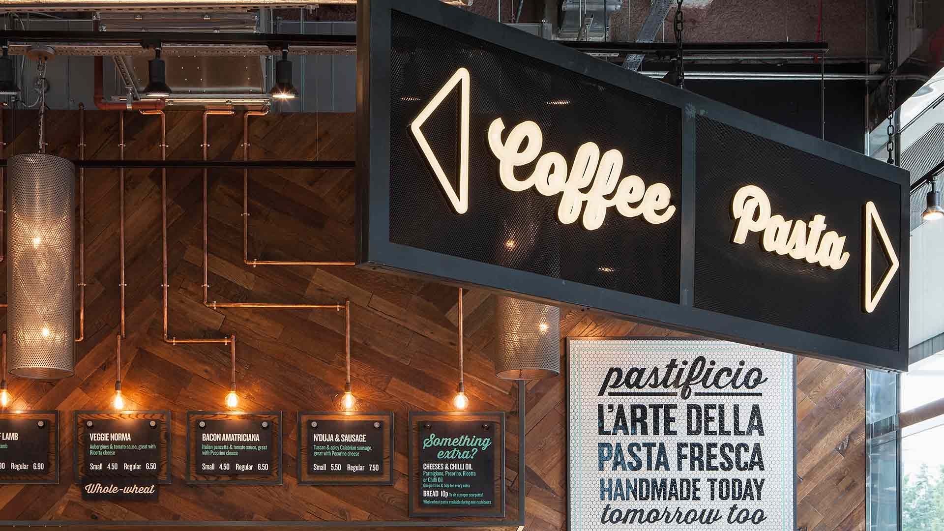 Coffee Pasta Neon Signage Conduit Light Installation Menus Lighting Scheme Nulty