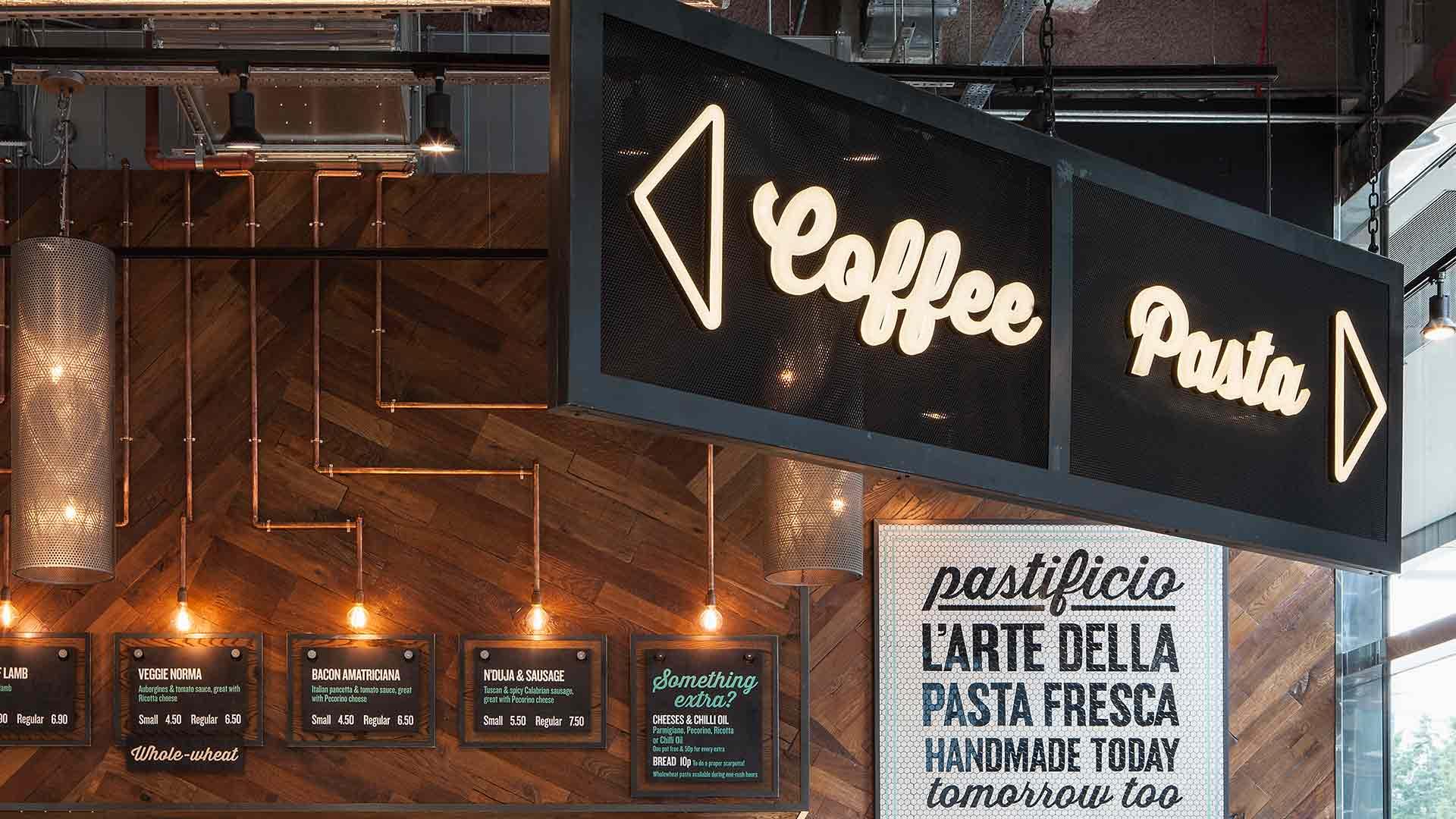 Coffee Pasta Neon Signage Conduit Light Installation Menus Lighting Scheme Nulty