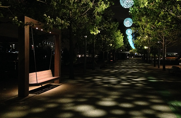 Sphere Luminaires Illuminated Bench Lighting Design Olympic Park Walkway