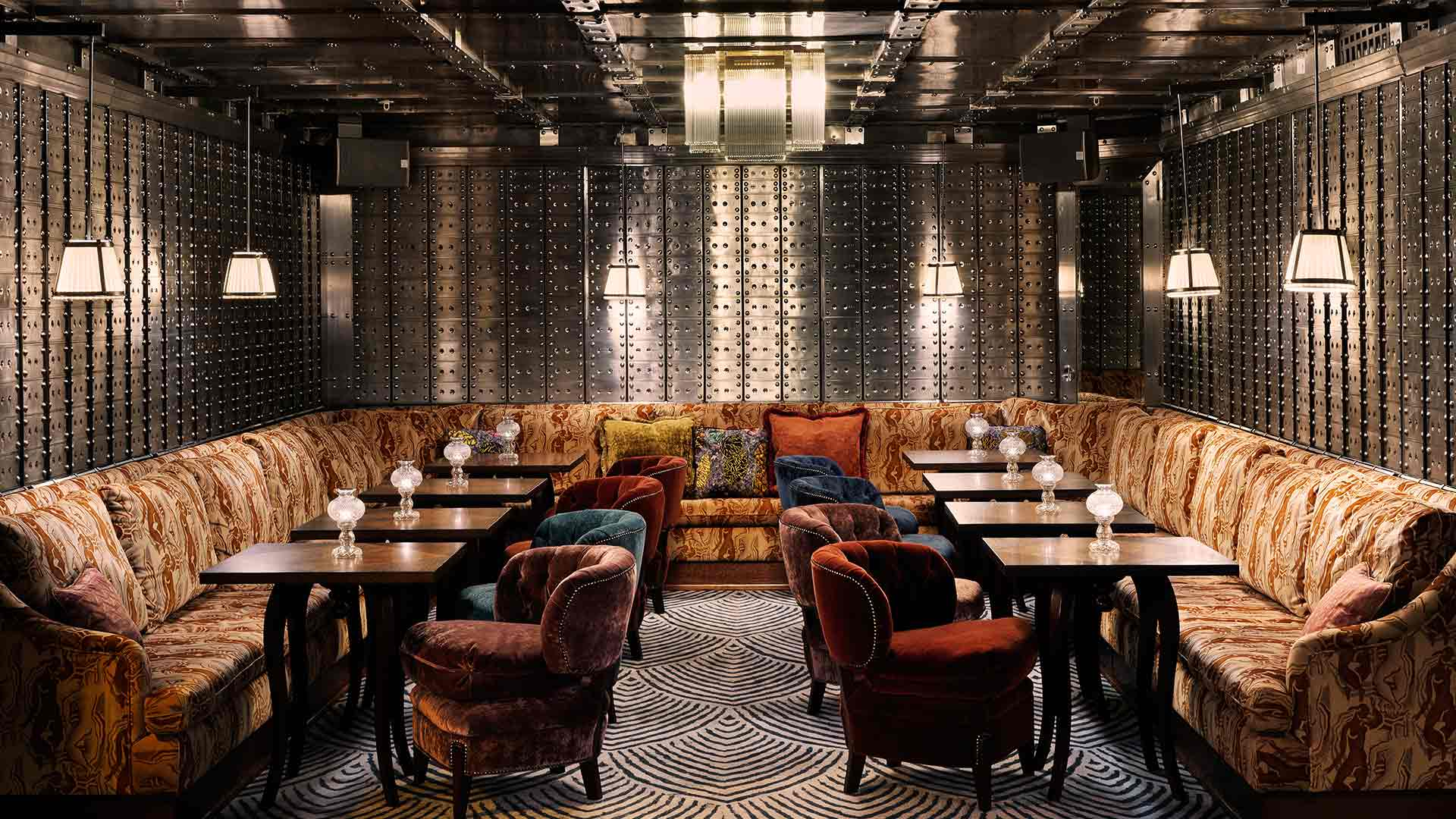 Old Bank Vault Members Bar Luxurious Interior Design Lighting Scheme Nulty