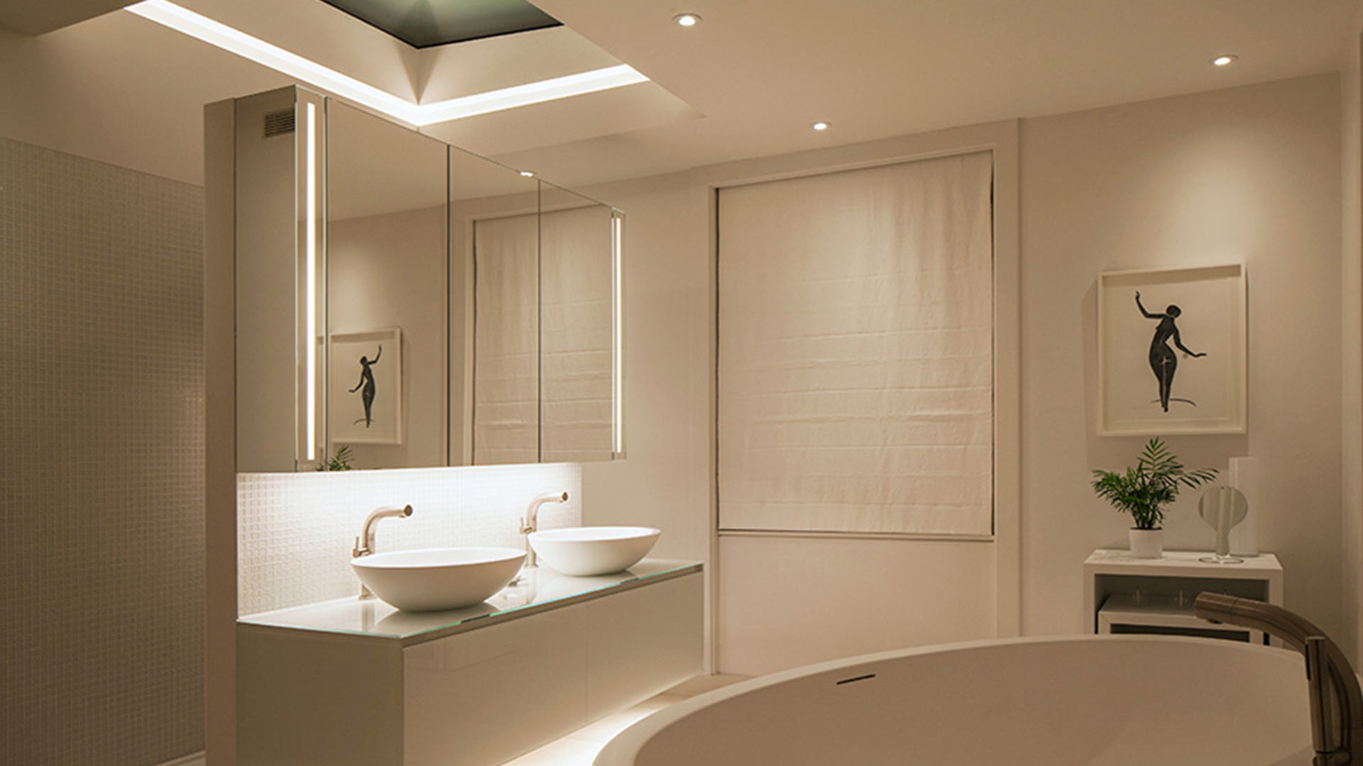 Residential Bathroom Luxury Contemporary Minimal Lighting Scheme Oval Bath Nulty