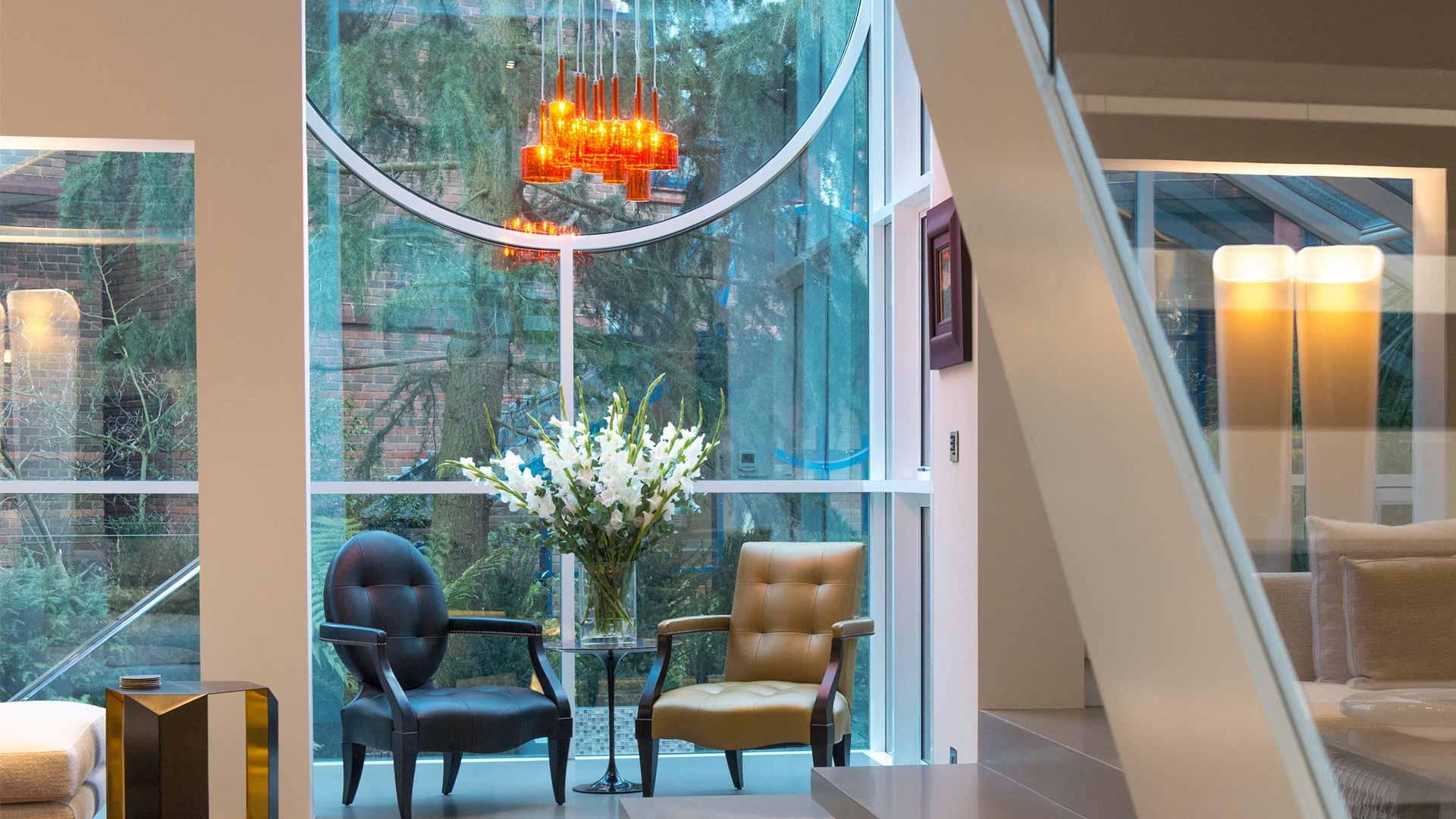 Interior Lighting Design Scheme Home Glass Front Exterior Orange Pendants Consultants Nulty