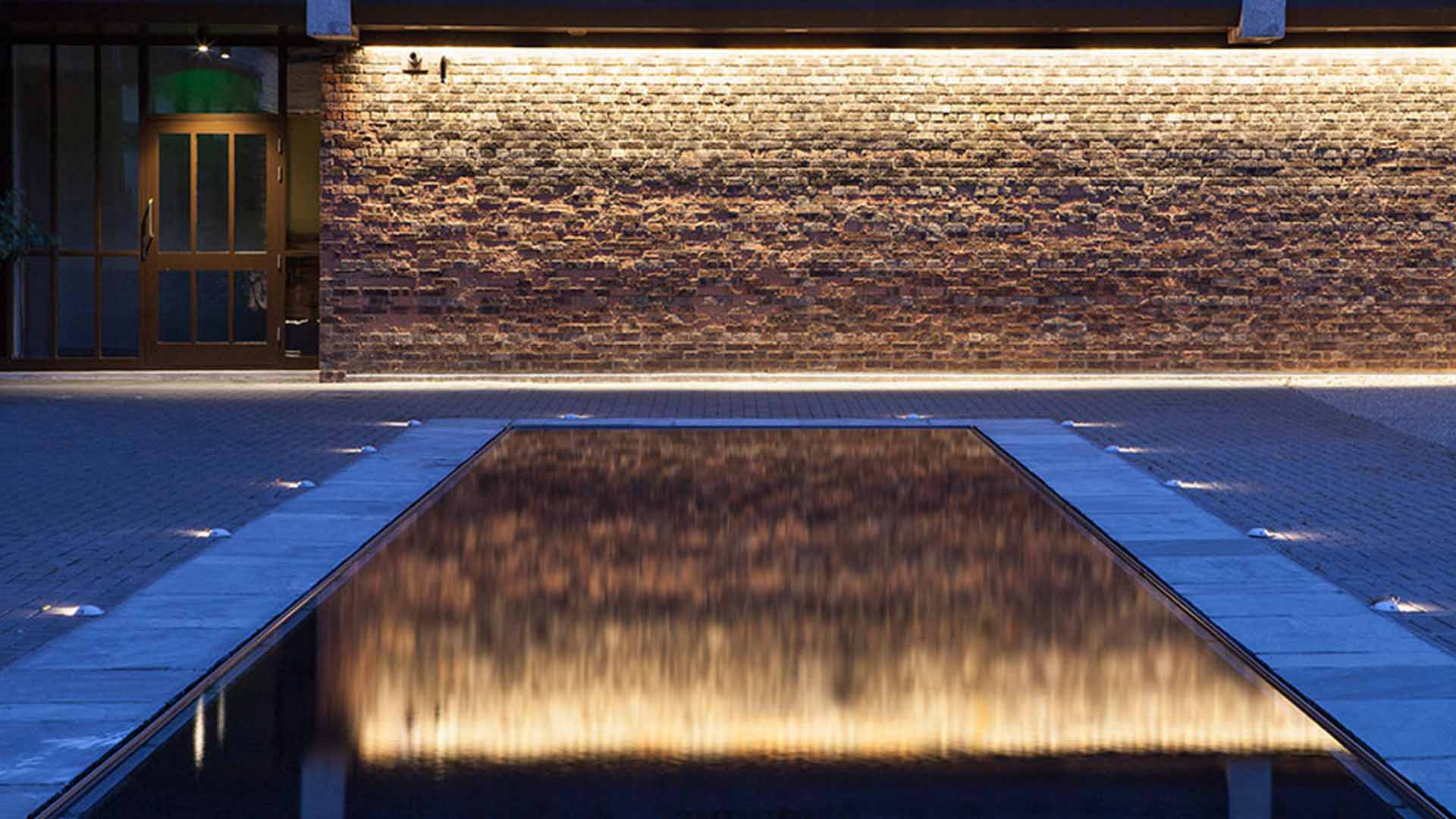 Reflection Pool Courtyard Brickwork Illumination Listed Building Nulty
