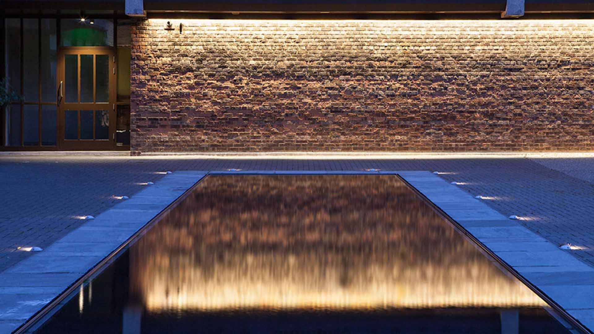 Reflection Pool Courtyard Brickwork Illumination Listed Building Nulty