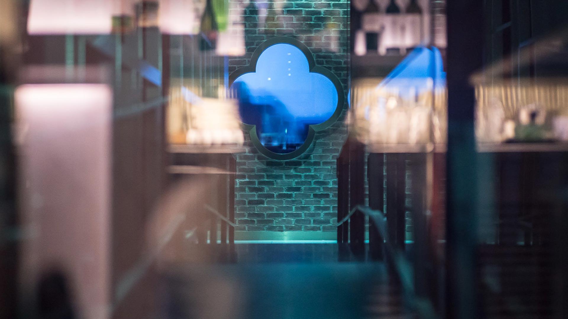 Dim Sum Restaurant Interior Blue Glass Clover Wall Detail Exposed Brickwork Lighting Designers Nulty