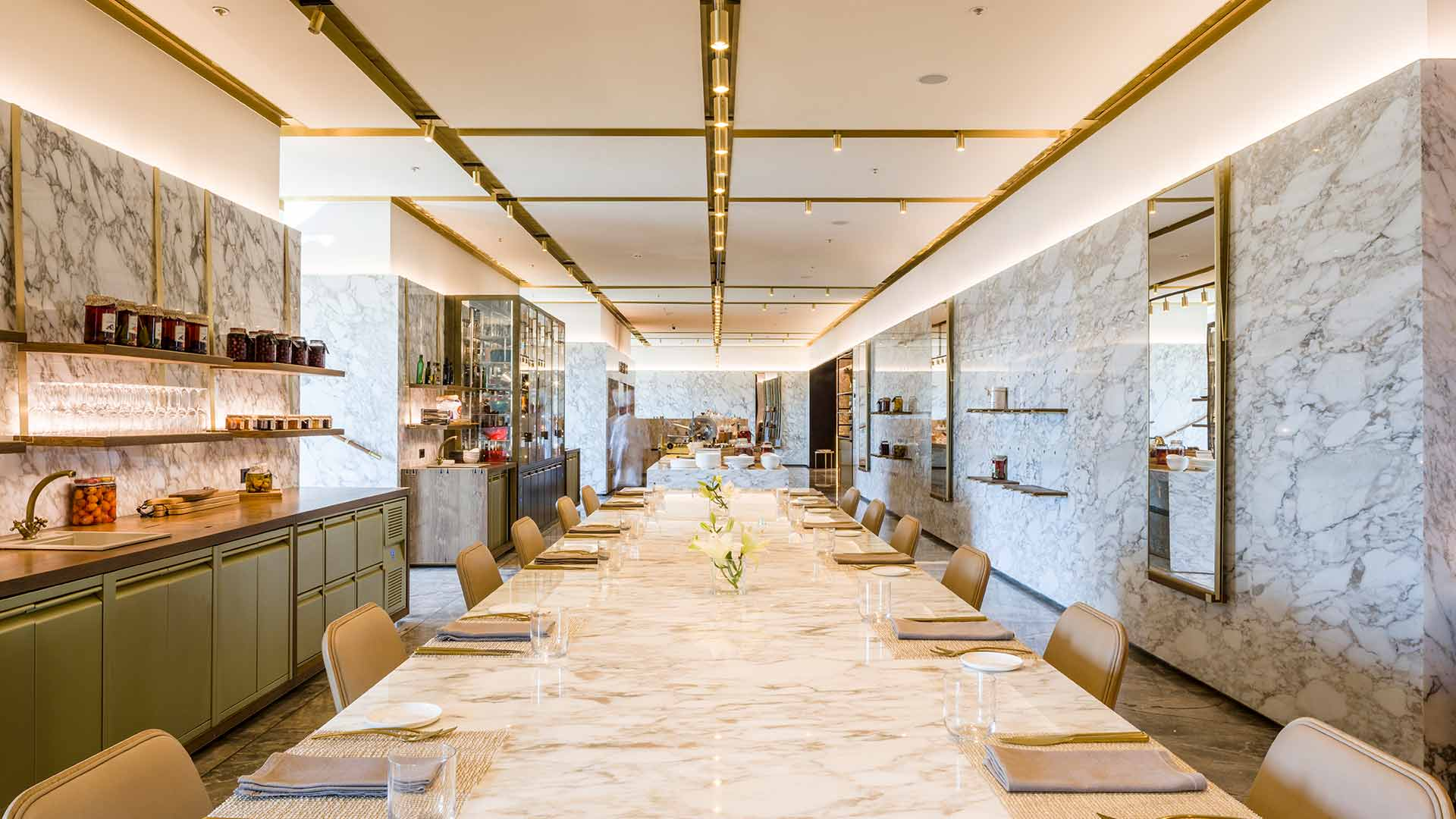 Linear Ceiling Lighting Luxury Hotel All Day Dining Restaurant Consultants Nulty