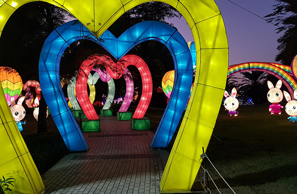 Dubai Garden Glow Pathway Illuminated Colourful Arches