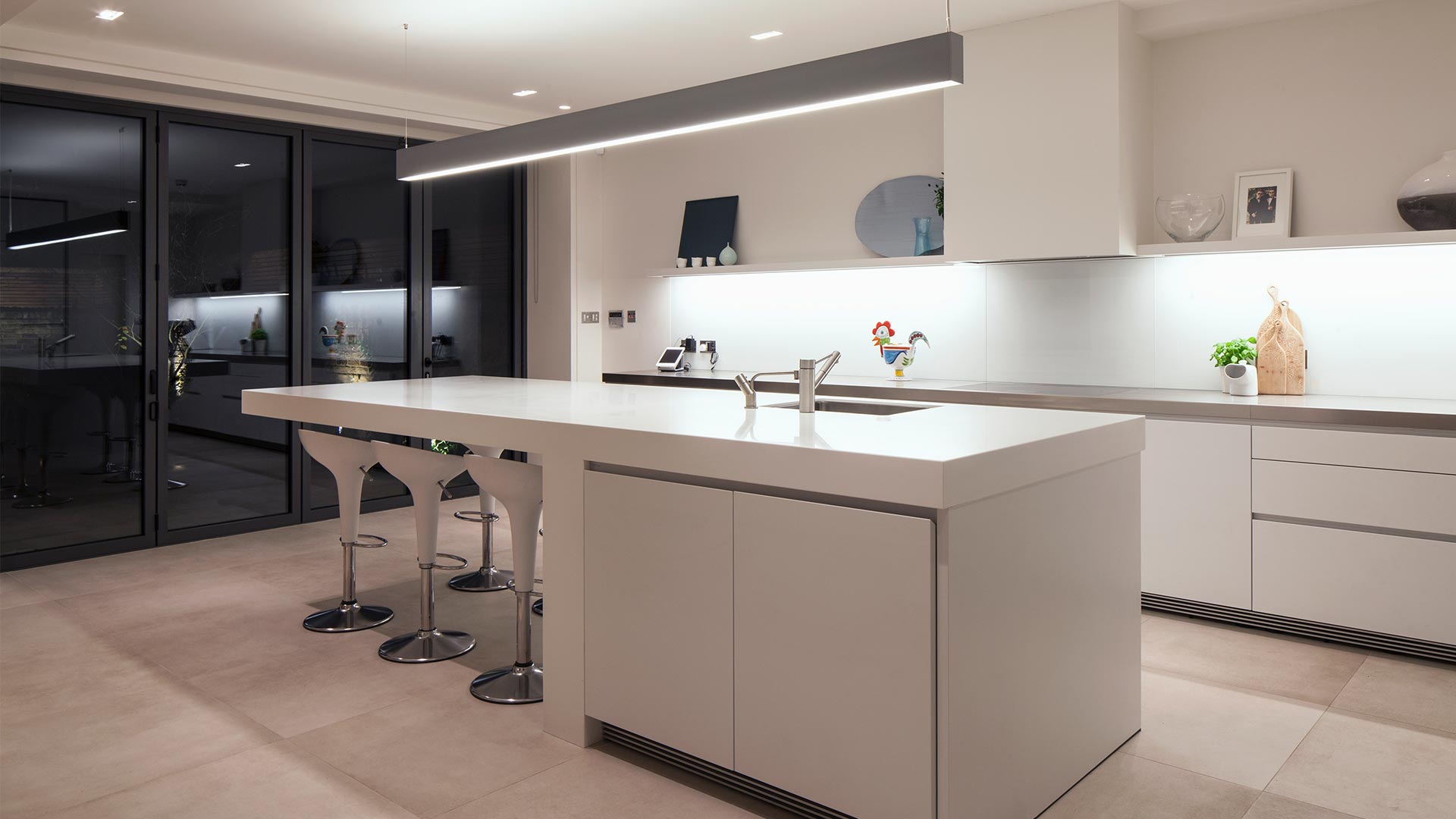 Minimal Lighting Scheme Modern Contemporary Kitchen Linear Pendant Island Nulty