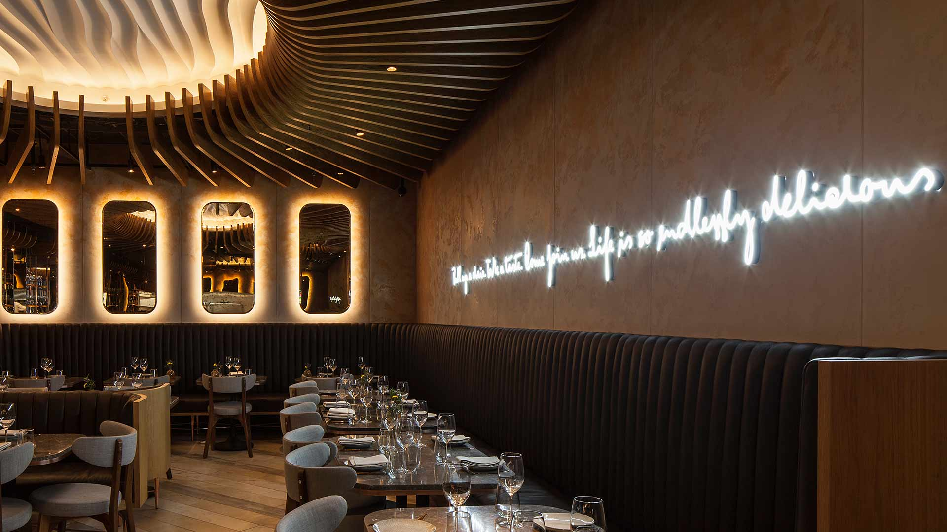 Architectural Lighting Design Mirrors Halo Glow Illuminated Statement Ceiling Restaurant Consultants Nulty