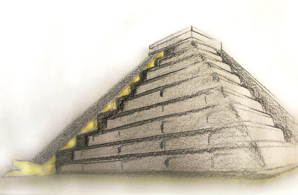 El Castillo Chichen Itza Mexico Hand Sketch Lighting Effects Antiquity Nulty