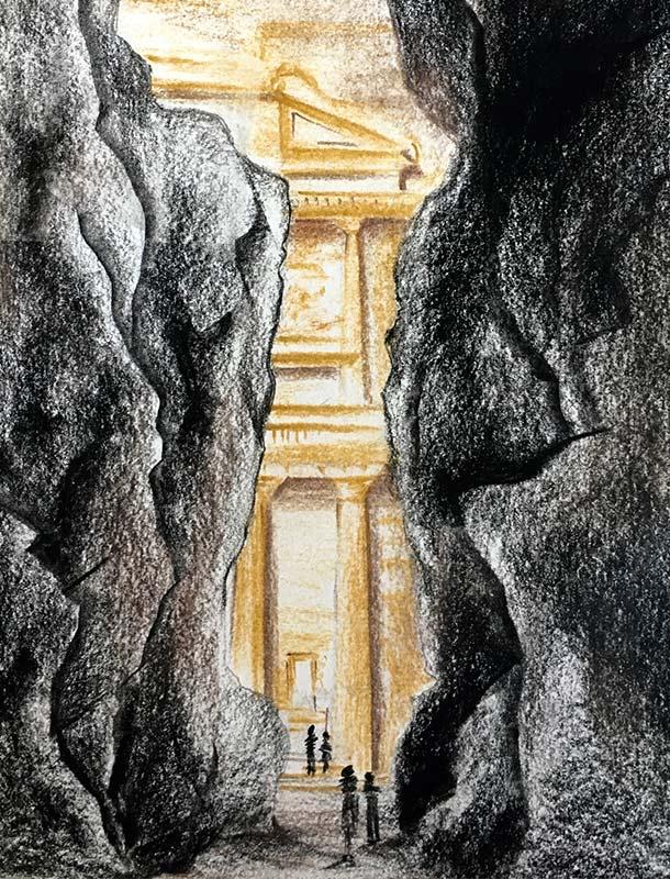 Ad Deir Al Siq Petra Jordan Hand Sketch Light Effect Antiquity Nulty