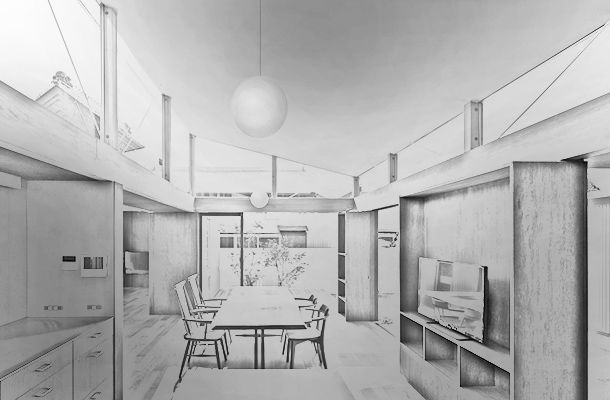 House With Gardens And Roof Hamamatsu Japan Sketch Built Form Modernity