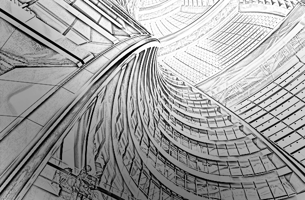 Leeza Soho Skyscraper Atrium Beijing China Sketch Modernity Built Form