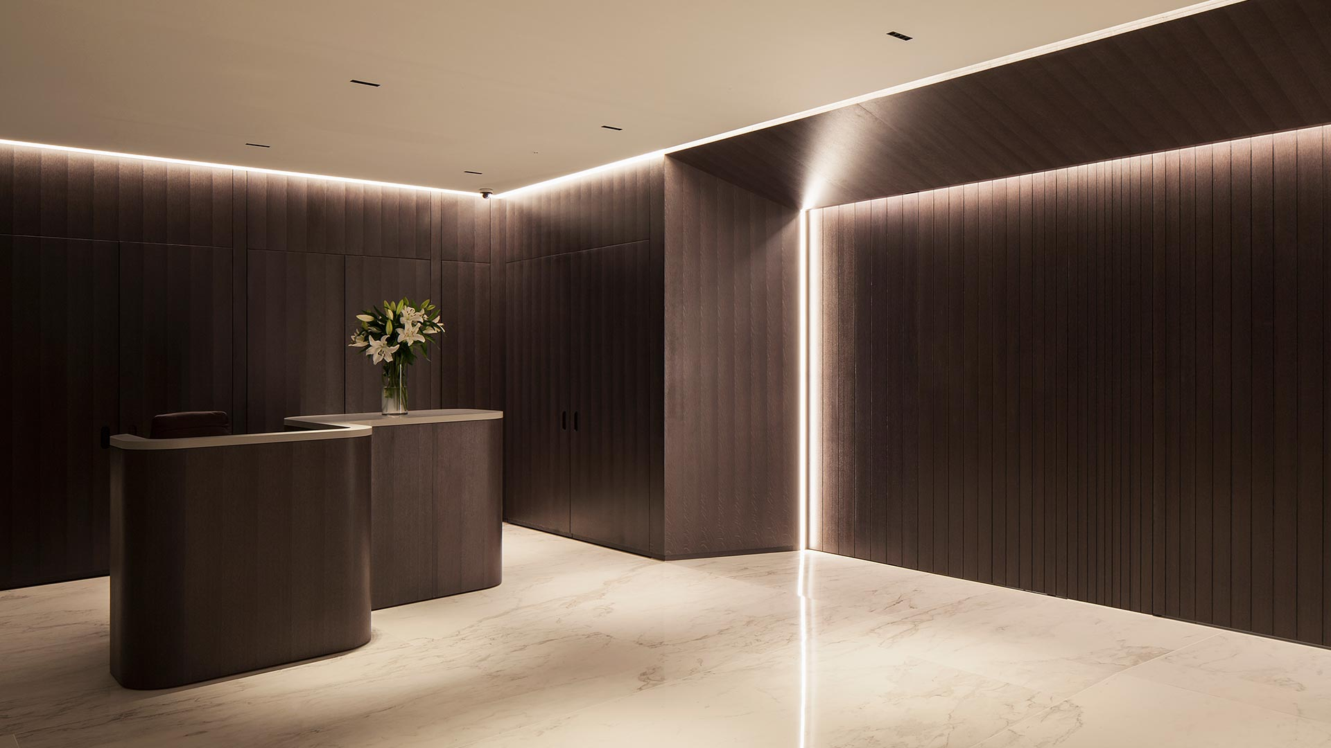 Architectural Lighting Design Office Reception Space Desk Monolithic Sliding Door Framed Illumination Nulty
