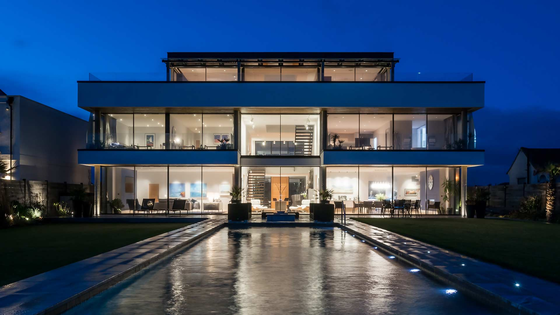 Architectural Lighting Design Modern Glass Seafront House Infinity Pool England Consultants Nulty